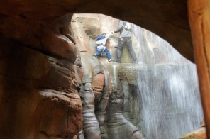 Some fellow adventurers tackle the Hidden Falls Chamber
